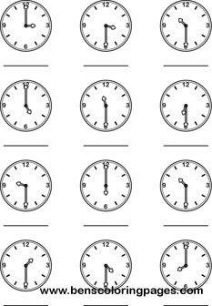 30 mins clock coloring print