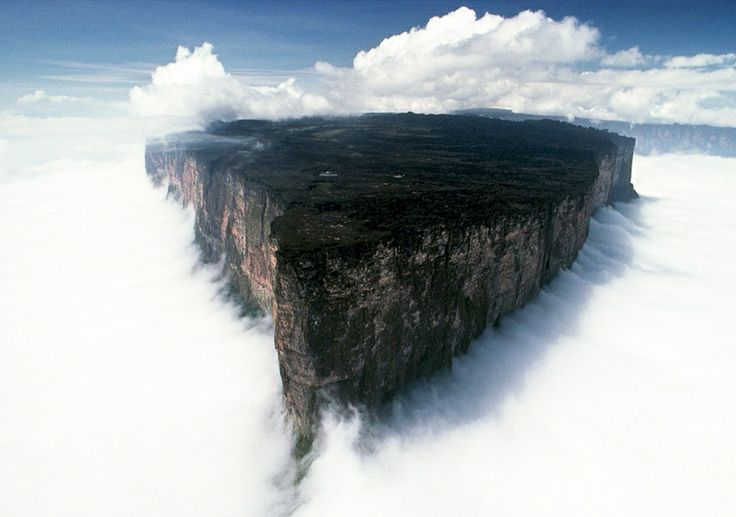 Mount Roraima is the highest of the Pakaraima chain of tepui plateau in South America. First described by the English explorer Sir Walter Raleigh in 1596, its 31 km² summit area consists on all sides of cliffs rising 400 metres