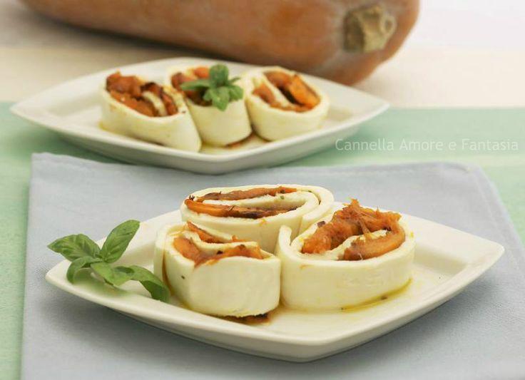Rotolini di mozzarella con zucca grigliata - ricetta vegetariana