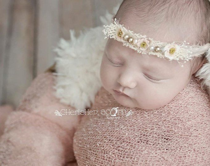 WHITE Baptism Headband Lace Headband for Toddler Photoshoot Prop Outfit Floral Newborn Tieback Head Band Christening Head Piece