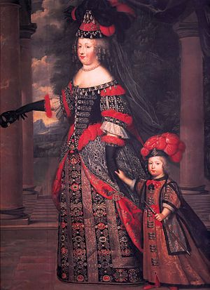 Charles Beaubrun: Maria Theresa of Austria (1638-1683) and the Grand Dauphin (1661-1711) (c. 1665), 225 × 175 cm (88.58 × 68.90 in) Oil on canvas, Prado Museum, Madrid, Spain