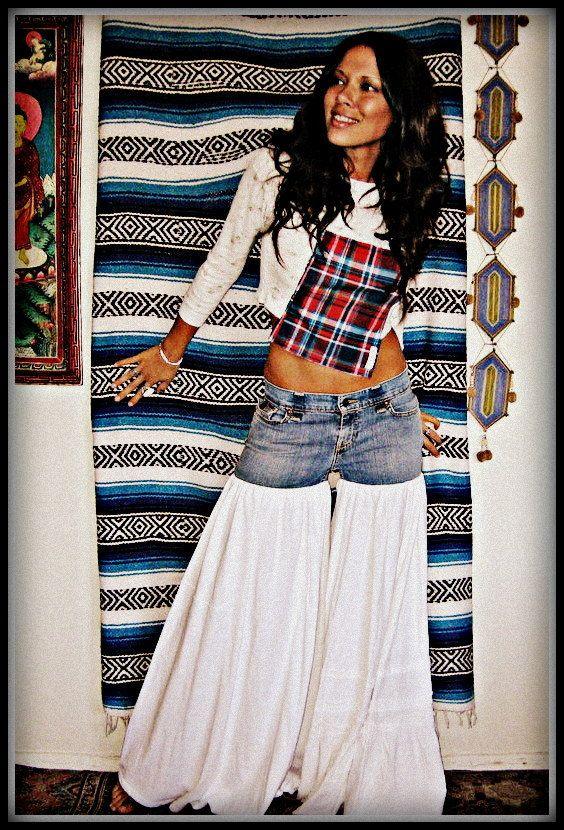 CUSTOM Made to Order LOVE Hippie Vintage Bell Bottom Bloomer Denim Jeans Pants. $83.99, via Etsy.