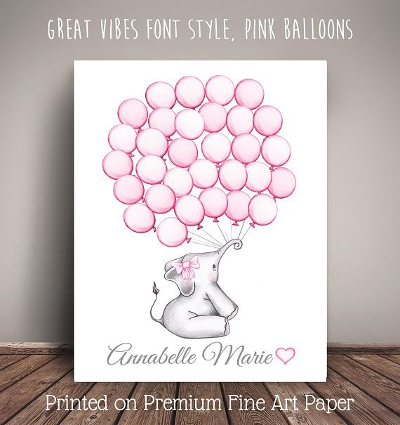 Elephant Guest Book Alternative - Have your guests sign the balloons, as a way to include them in this unique guestbook print that can be hung in the childs room for years to come. Choose the balloon color, font color and font style. Check all listing photos and drop down menus