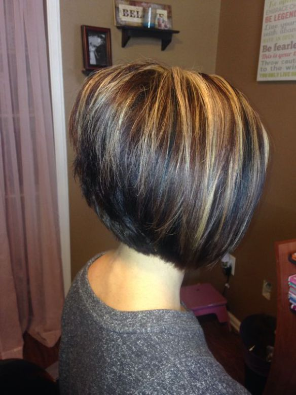 Inverted Bob Haircut with Highlights, bob haircuts for fine hair,inverted bob…