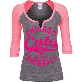 Chicago Cubs Ladies Grey and Pink Tri-Blend Raglan T-Shirt