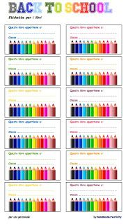 etichette per libri e quaderni da stampare gratis - free book prinable label