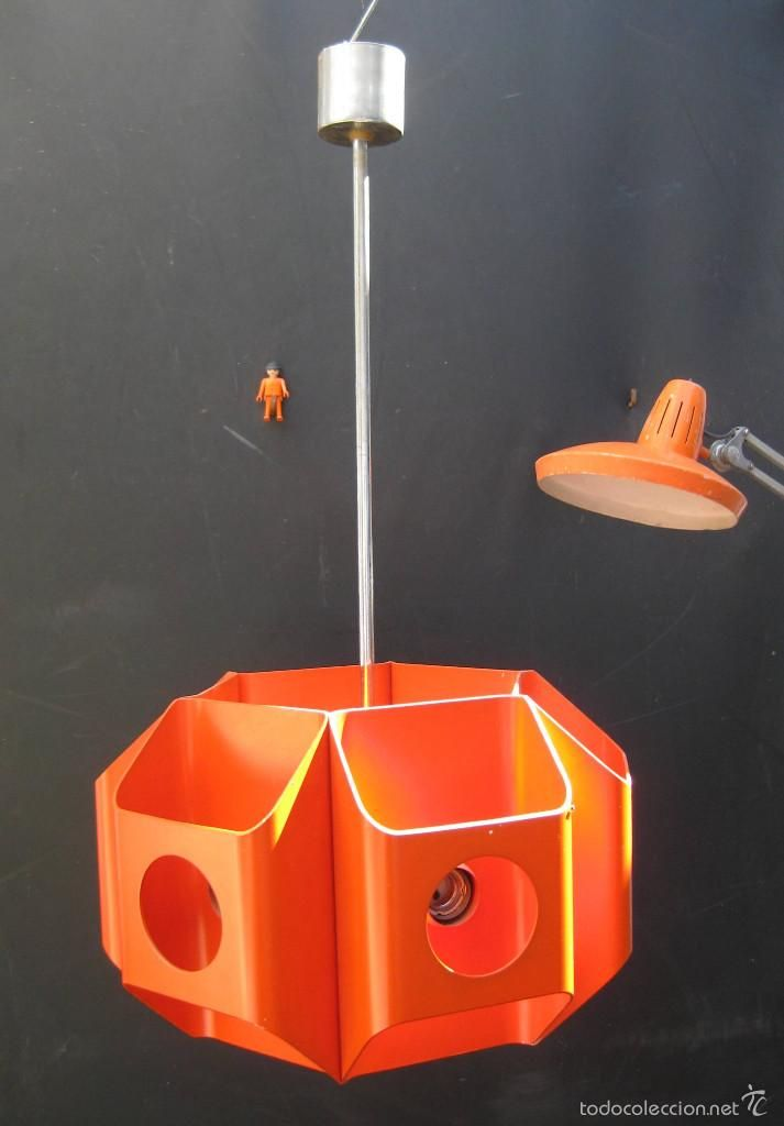 GRAN LAMPARA VINTAGE UFO ORANGE LAMP ACERO LACADO NARANJA 6 LUCES AÑOS 70 - Foto 1