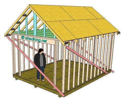 How to build a gable shed roof tiny houses pinterest for Gable roof barn plans