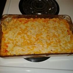 Baked Buffalo Chicken Dip. This is THE BEST! Always the first thing gone at parties! I love it with tortilla chips mmmmm ~Desiree