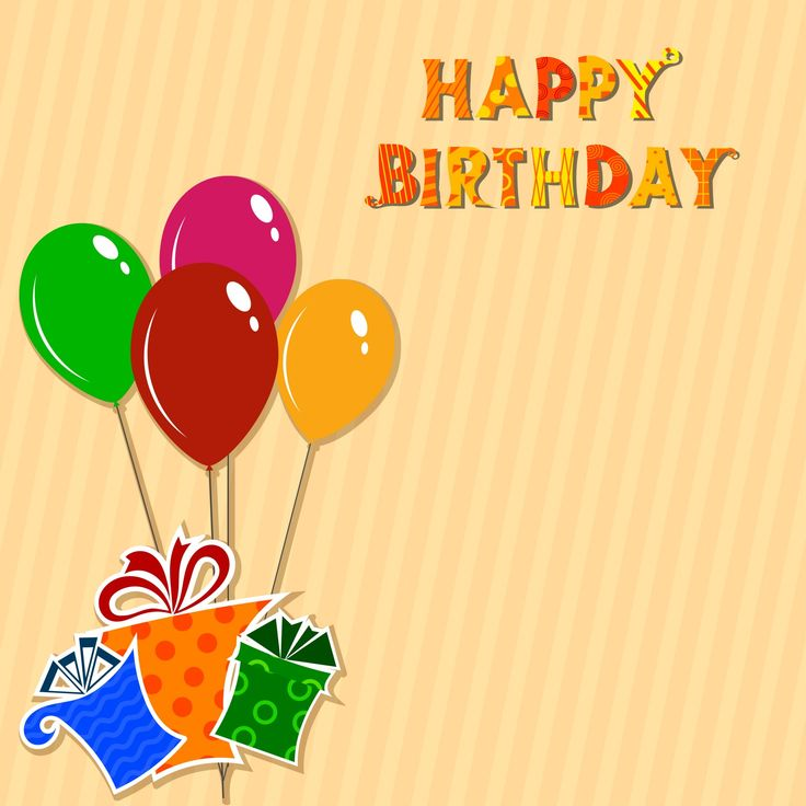 Happy Birthday Wishing Cards And Wallpapers: Striped Background With Balloons And Gifts