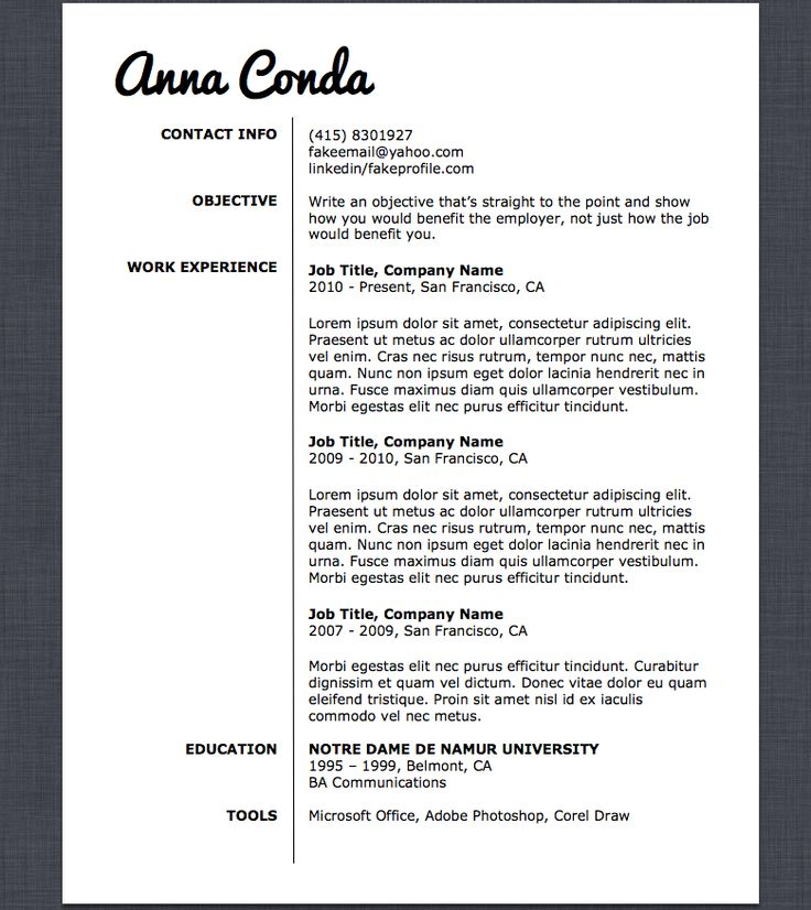 19 best Resume Templates images on Pinterest Resume templates - microsoft office resume templates 2010