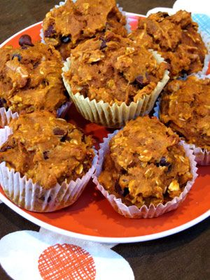 Health AND YUM! Oatmeal, Dark Chocolate Chip Pumpkin Muffins