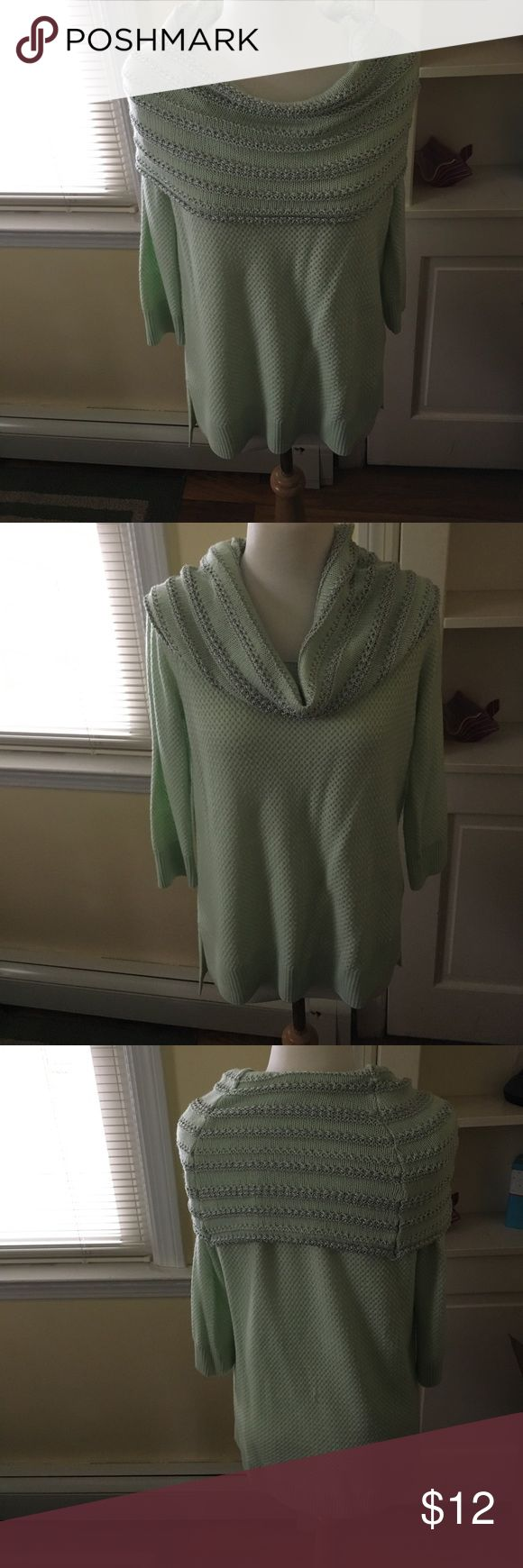 New York and Company Cowl Neck Sweater. New York and Company Cowl Neck Sweater. Size medium. Excellent condition. Light mint green with silver cowl neck stripes. New York & Company Sweaters Cowl & Turtlenecks