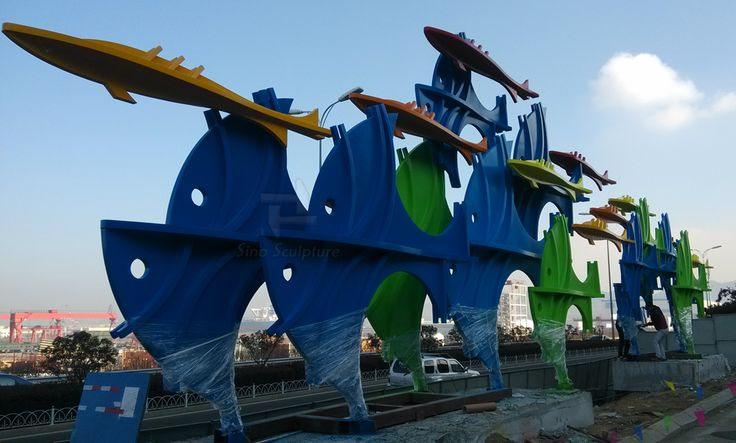 color printed steel fish sculpture, lacquered fishing sculpture group - Beijing Sino Sculpture Landscape Engineering Co.,Ltd
