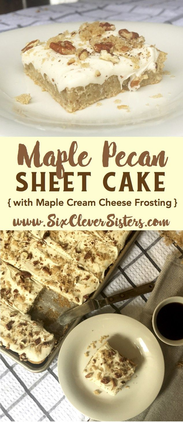 Maple Pecan Sheet Cake   Fall Recipes   Desserts   Fall Recipes Dessert   Dessert Recipes Easy   Desserts For a Crowd   Desserts For Parties   Maple Cake   Holiday Desserts   Cream Cheese Frosting   Dessert Ideas   Holiday Recipes   Cake For a Crowd   Fall Desserts   Thanksgiving Recipes   Sheet Cake Recipes   Recipe on Six Clever Sisters for this amazing Maple Pecan Sheet Cake! It's one you're going to want to add to your holiday menu!
