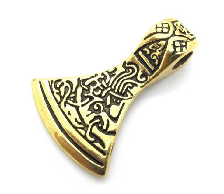Pent anheng i forgylt metall designet som en viking øks.