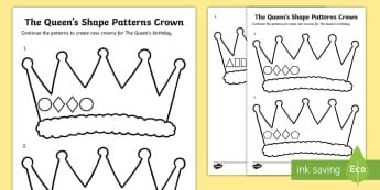 The Queen\'s Shape Patterns Crown Activity Sheet - worksheet, numeracy, maths, sequence, continue a pattern, colouring, crown