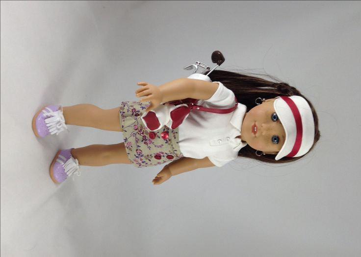 """18T Sportswear - Top, Skort, Golf Bag & Clubs, Golf Shoes and Visor for 18"""" Dolls Like American Girl Lea, Grace, Isabelle, McKenna and Kit by MjsDollBoutique18T on Etsy"""