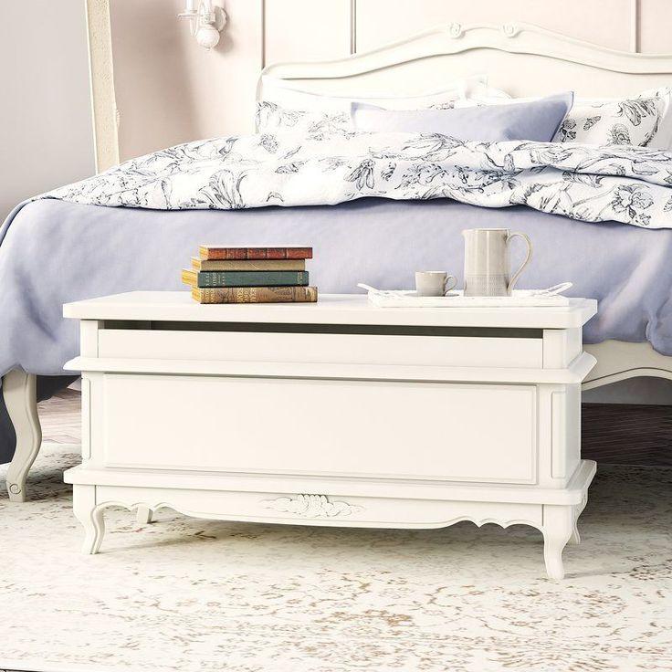 Wooden Storage Footstool White Rectangular Bench Solid Wood Bedroom Furniture