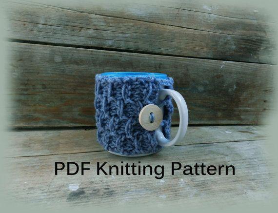 PDF Knitting Pattern/ Coffee mug cozy pattern by GabriCollection