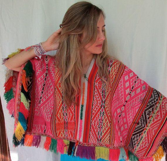 vintage Peruvian rainbow poncho manta by daughterofthesun on Etsy, $98.00