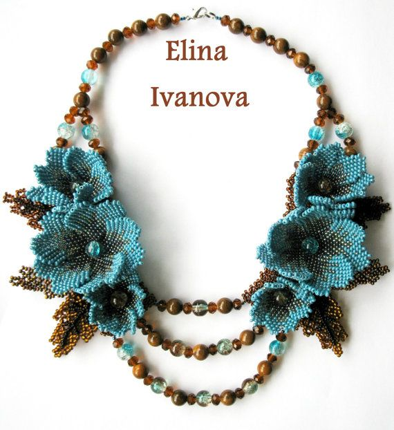 Beaded Flower necklace October exclusive door Elinawonderland, $135.00