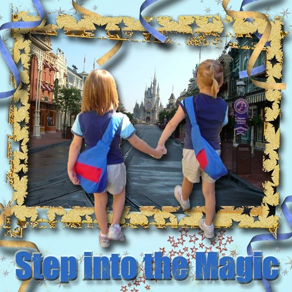 Disney Scrapbook Page Layout - Magic on Main Street by Kelly of KB Custom Creations