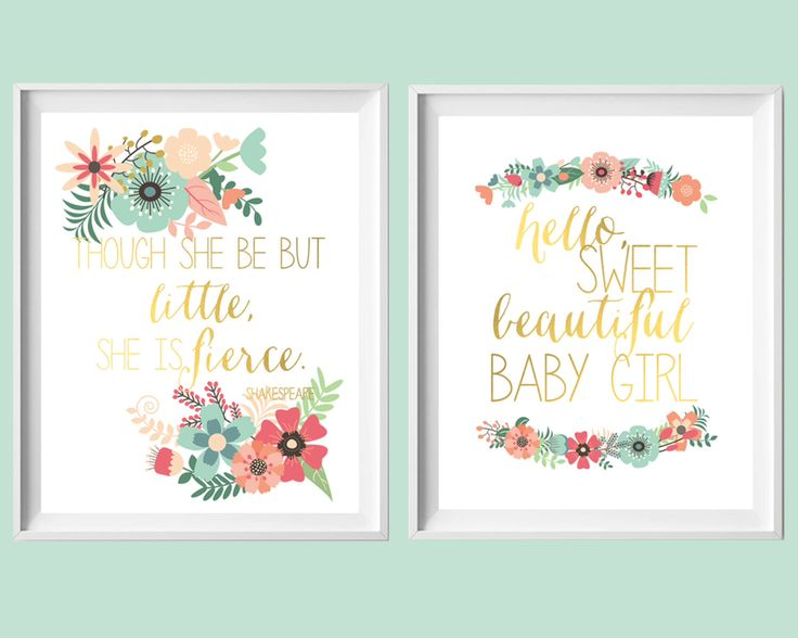 Pink Aqua Coral Nursery Art-Set of Two 8x10 Though She Be But Little, Hello Sweet Beautiful Girl Prints by paper and palette by paperandpalette on Etsy https://www.etsy.com/listing/235614918/pink-aqua-coral-nursery-art-set-of-two