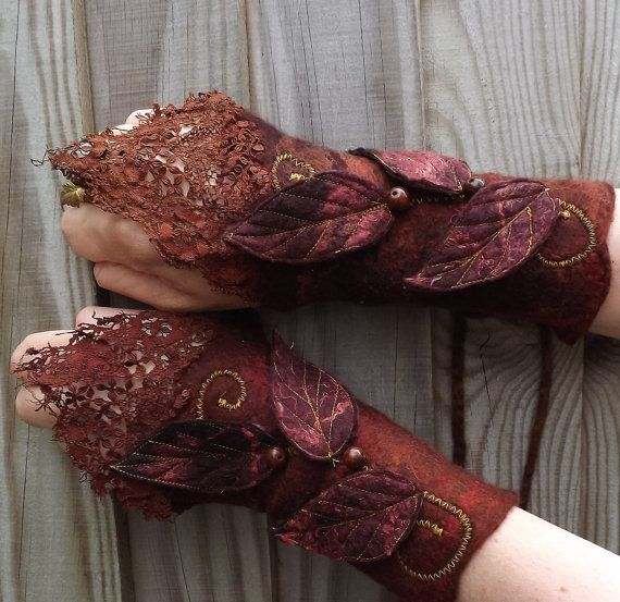 OMG - these are so lovely, and completely my style!!!   Woodland Nut Cuffs - Steampunk Fairy - Vintage lace cuffs - nuno felt cuffs