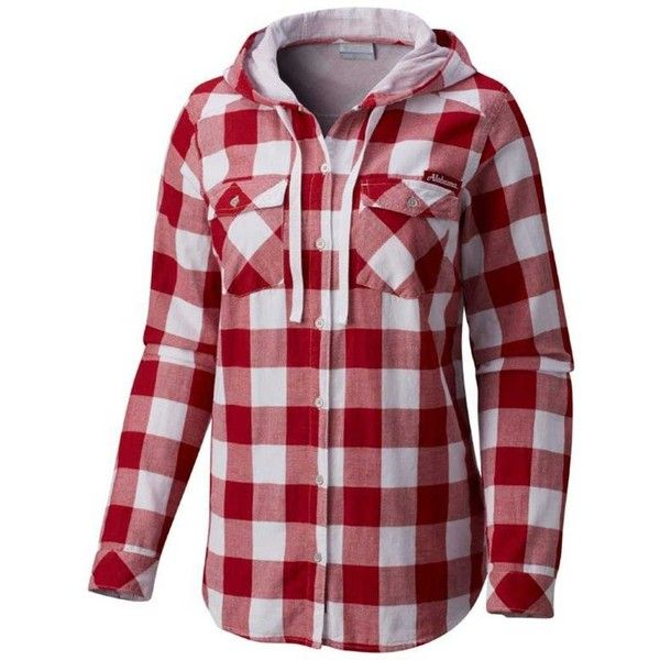 Women's Columbia Alabama Crimson Tide Times Two Hooded Button-Down... ($48) ❤ liked on Polyvore featuring tops, brt pink, plaid shirts, red long sleeve shirt, pink plaid shirt, long sleeve button up shirts and plaid button-down shirts