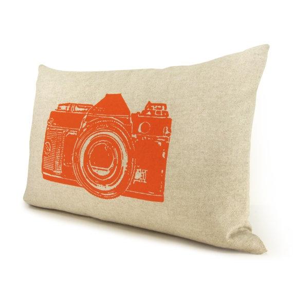 Camera pillow cover, Lumbar pillow cover, 12x18 decorative throw pillow cover - Orange retro ...