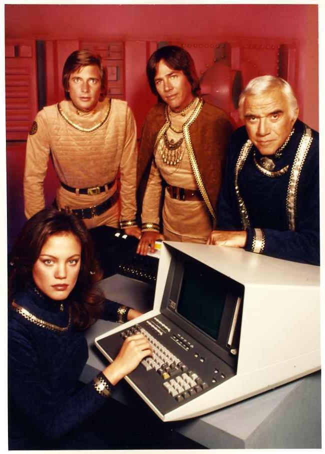 Battlestar Galactica (1978) - Athena, Starbuck, Apollo, and Adama...nice workstation...