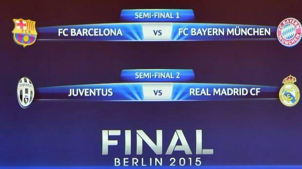Champions League: Barcelona-Bayern y Real Madrid-Juventus