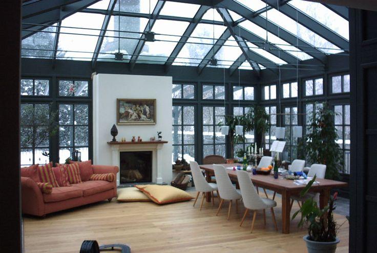 Wintergarten beheizt freistehende konstruktion mit verbindungsgang zum wohnzimmer - Ofen im wintergarten ...
