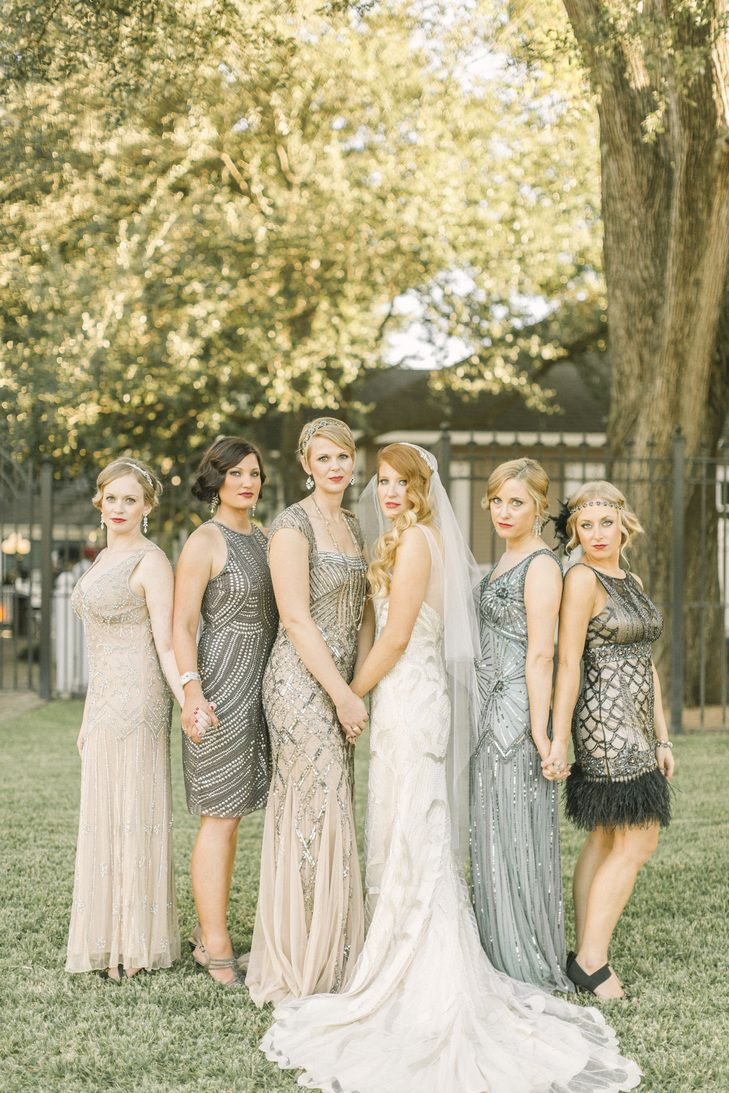 Art Deco Neutral Mismatched Bridesmaid Dresses with Beading | Photo: Alicia Pyne Photography |
