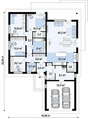 Проект дома с чердаком и четырехскатной кровлей  S3-196-1 (Z52). План 1. Shop-project