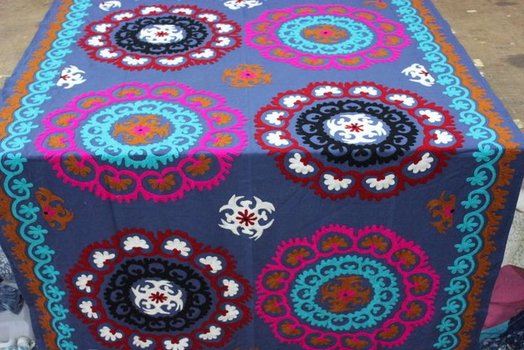 Suzani Embroidered Bed Covers suzani Cotton Fabric Single size Bed Sheet…
