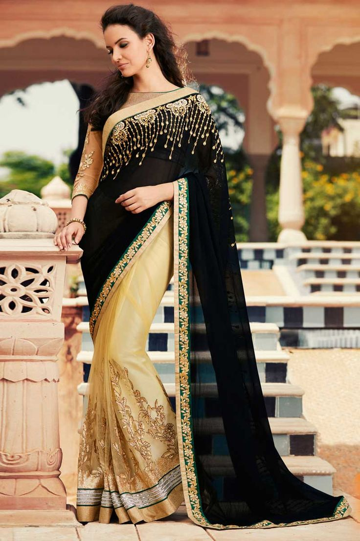 #AndaazFashion presents Beige and black Georgette and net Saree With Velvet Blouse  http://www.andaazfashion.fr/womens/sarees/beige-and-black-georgette-and-net-saree-with-velvet-blouse-dmv8424.html