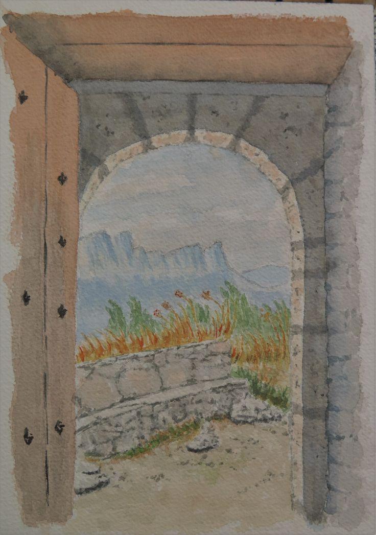 Castillo Mayor desde ermita de La Peña. Pirineos de Huesca. Acuarela en papel Arches 300gr. 18 x 26