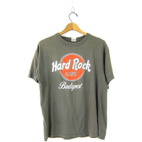 Vintage Hard Rock Cafe Tshirt Drab Army Green Budapest Thin novelty... ($25) ❤ liked on Polyvore featuring tops, t-shirts, vintage clothes, olive top, vintage tees, thin t shirts, olive green t shirt and olive green top