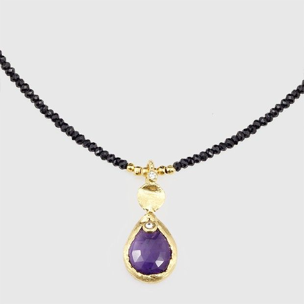 Amethyst and Black Spinel Necklace, sterling silver work plated in 24k gold.