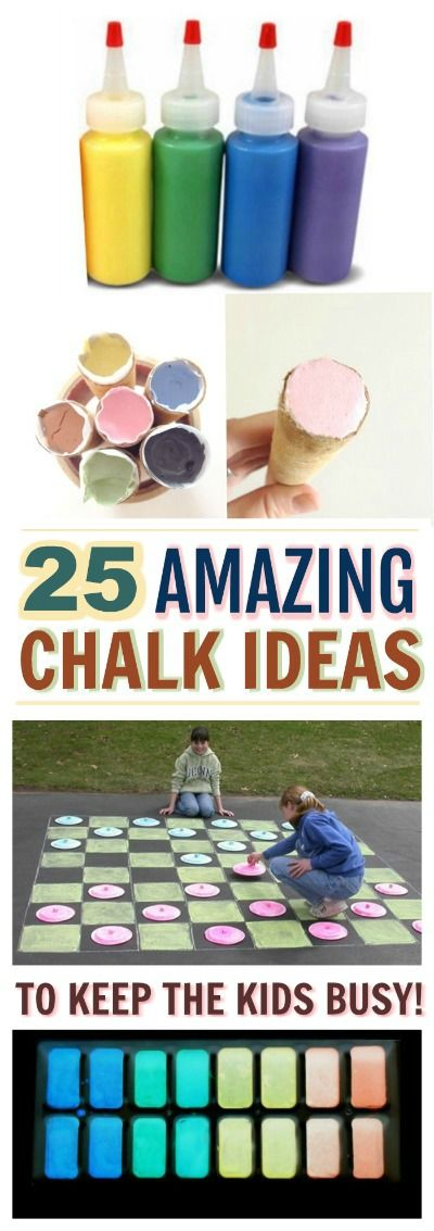 "25 ""SUPER-FUN"" WAYS FOR KIDS TO PLAY WITH CHALK-  tons of ideas!"