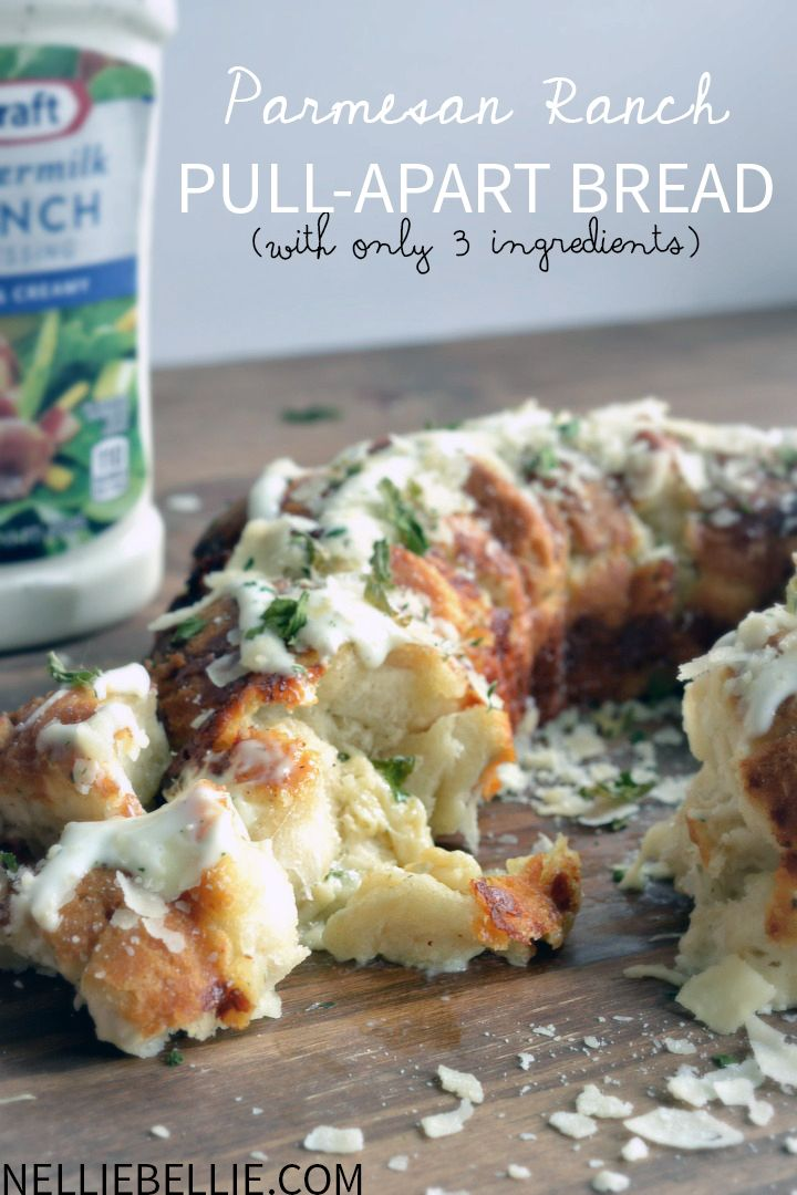parmesean and ranch pull-apart bread. only 3 ingredients and about 5 minutes of prep!