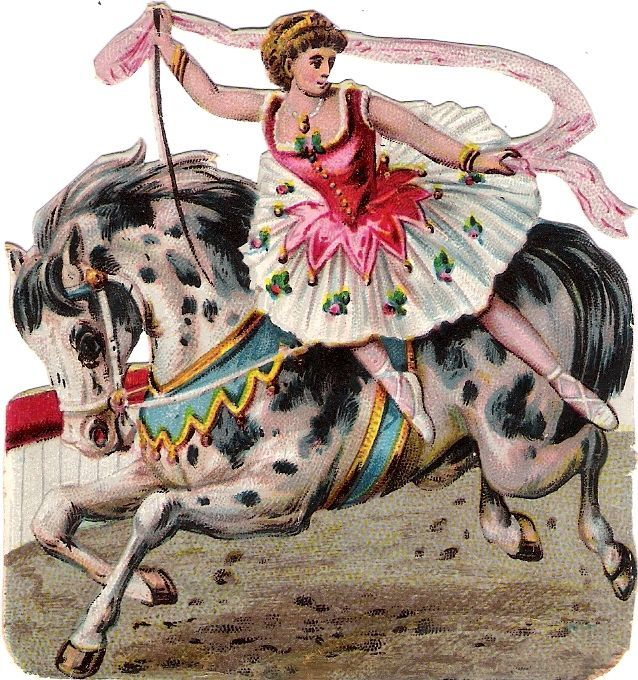 Oblaten Glanzbild scrap die cut chromo Zirkus circus cirque Pferd horse cheval