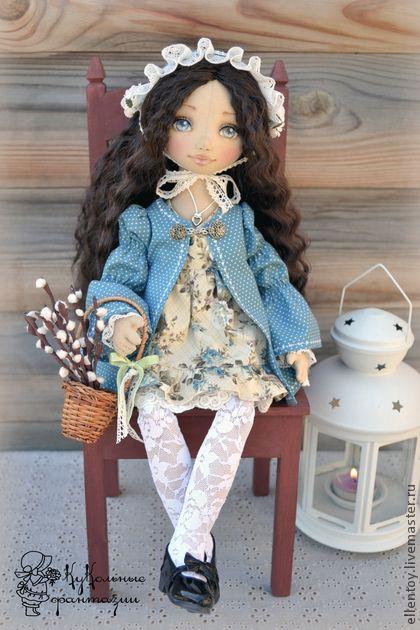 Асенька, текстильная кукла - голубой,серо-голубой,коллекционная кукла ♡