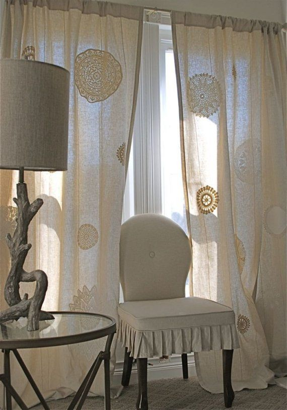 Doilies fused to linen drapes...