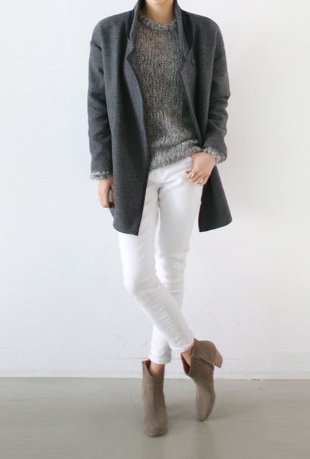 White jeans, Isabel Marant Dicker boots and grey coat and sweater #fallfashion #fallwinter