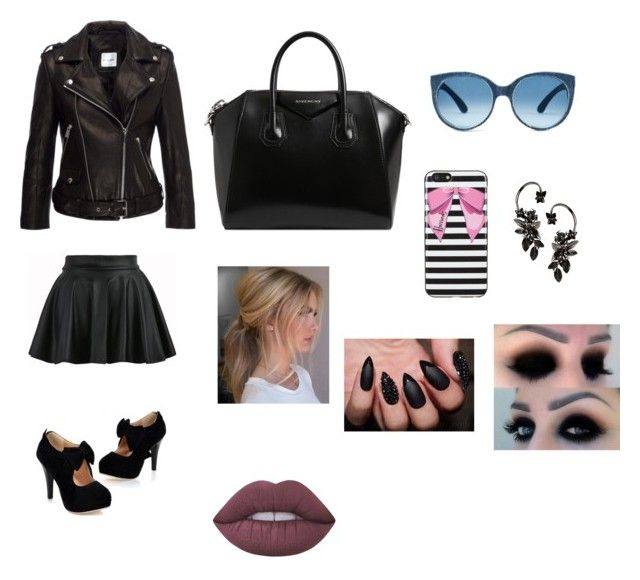 """""""black"""" by cocoblair25 on Polyvore featuring Anine Bing, Givenchy, Harrods, Roberto Cavalli and Lime Crime"""