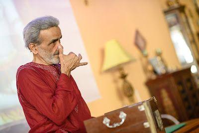 Sri #Dharma Mittra demonstrating alternate nostril breathing. #Dharma Yoga New York Center