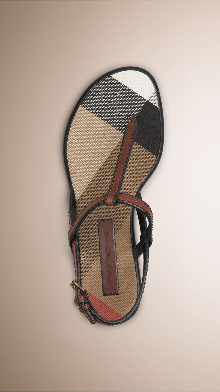 Canvas Check and Leather Sandals Dark Tan | Burberry